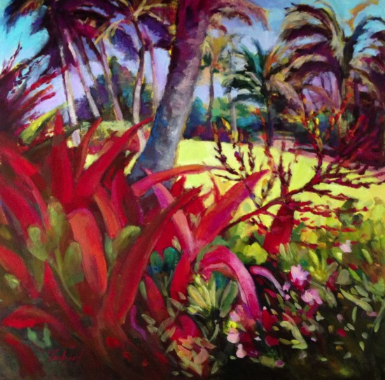 """Gaguin in Hanalei 30"""" X 30"""" Atelier Acrylic on museum wrapped canvas"""