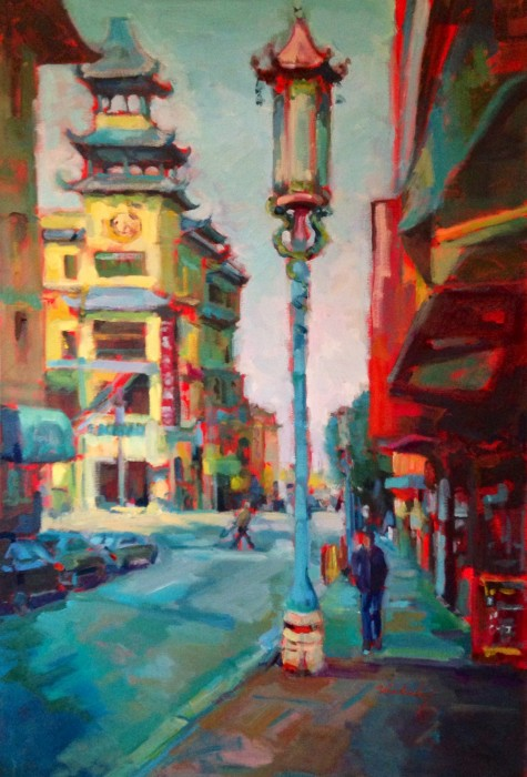 "No Parking in Chinatown, 24"" x 36"" oil and acrylic on museum wrapped canvas"
