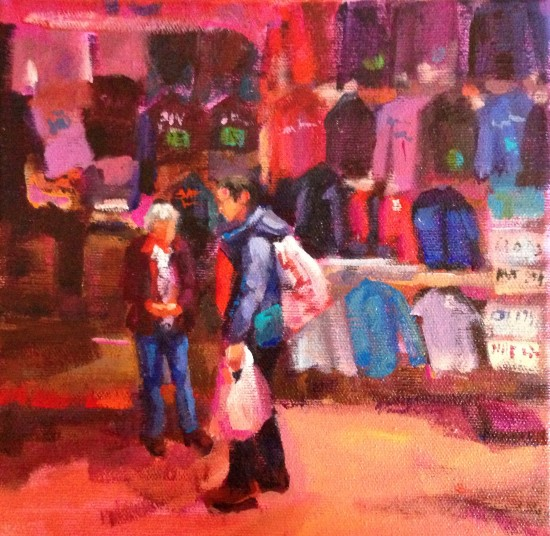 "Chinatown Red, 8"" x 8"" acrylic on museum wrapped canvas"