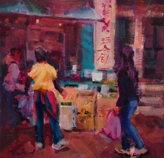 "Chinatown Green, 8"" x 8"", acrylic on museum wrapped canvas"