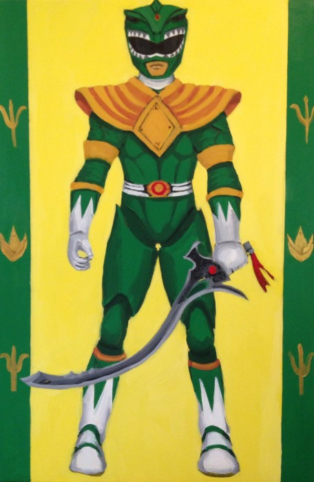 "Green Power Ranger 24"" x 36"" acrylic on gallery wrapped canvas"
