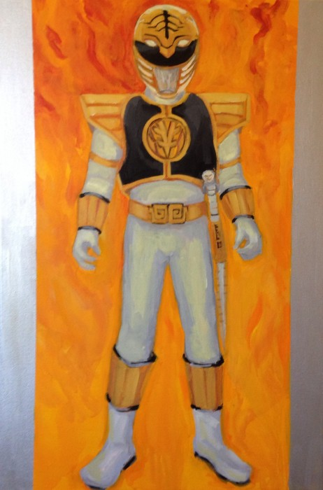 "White Power Ranger 24"" X 36"" acrylic on gallery wrapped canvas"