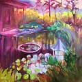 "Pond of Good Fortune, 36"" x 36"" acrylic and oil on gallery wrapped canvas"