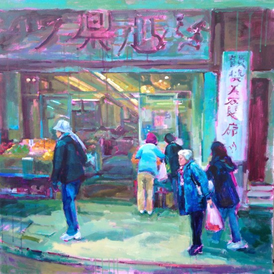 "It's Not Kiki's Market II, 36"" x 36"", acrylic on museum wrapped canvas."