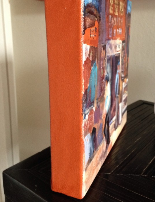 Edges of paintings in Cadmium red