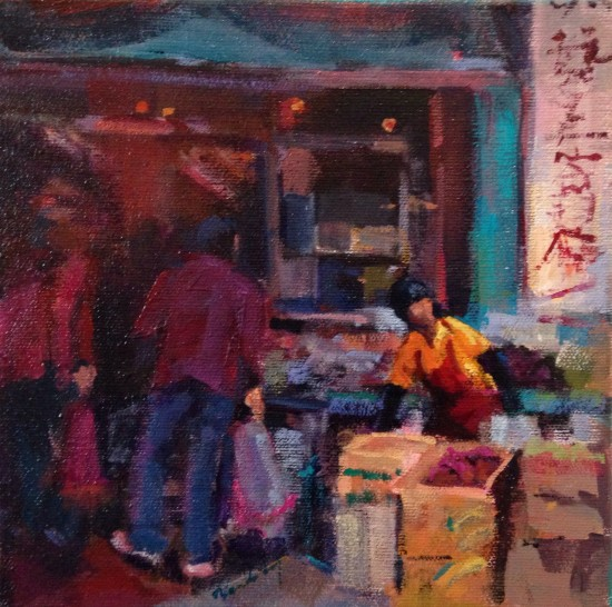 """Market Day On Grant, 8"""" x 8"""", acrylic on museum wrapped canvas"""