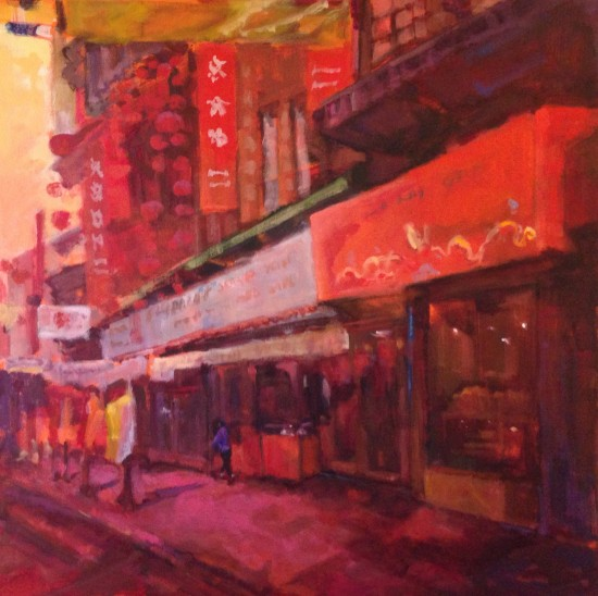 """Scene From Chinatown, 30"""" x 30"""", acrylic on museum wrapped canvas"""