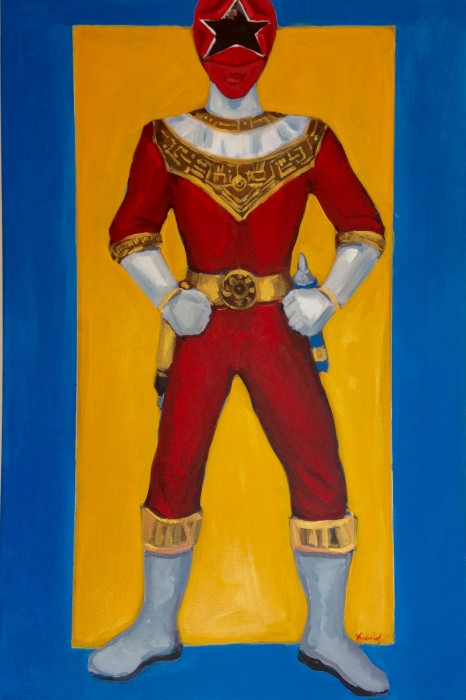 "Zeo Red Power Ranger 24"" x 36"" acrylic on gallery wrapped canvas"