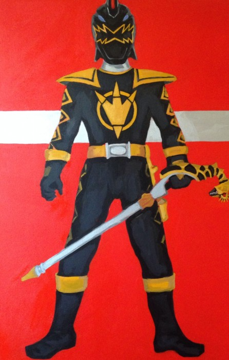 "Dino Thunder Black Ranger 24"" x 36"" acrylic on gallery wrapped canvas"