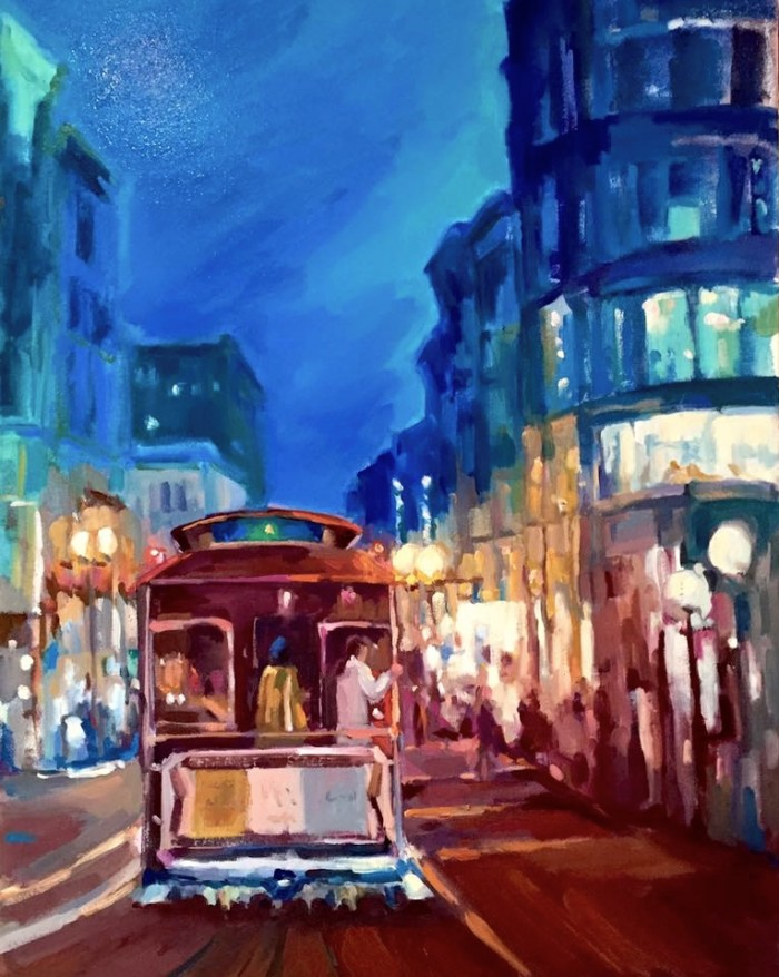 "Nighttime on the F-Line 30"" x 40"" Oil on gallery wrap canvas"